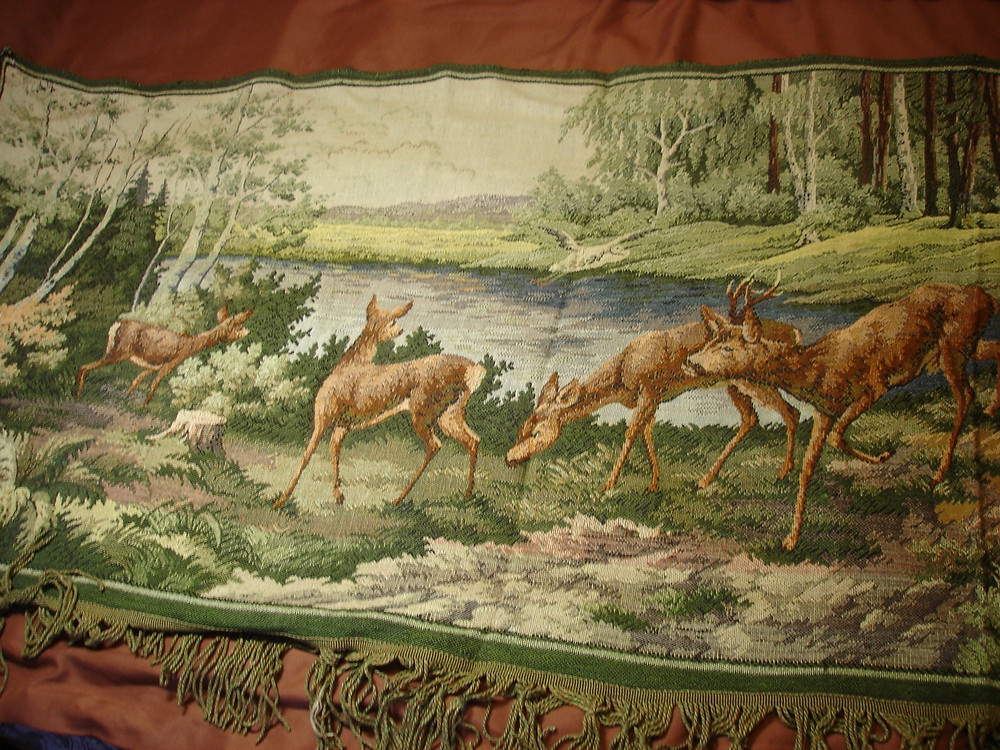 найти винтажные вещи, интересные вещи, ковер гобелен, природа, олени,