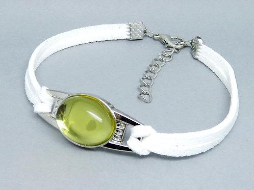 Кожаный браслет с балтийским янтарём   Ручная работа   Литва