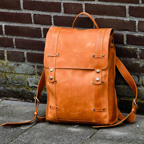 рюкзак  из натуральной кожи, авторская работа, рукзак на каждый день, стильный ркзак, OvLGroup, купить рюкзак ручной работы,