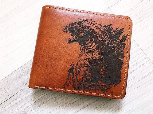 Кошелёк Годзила,OvLGroup, кошелёк ручной работы, купить кошелёк с отттиском,