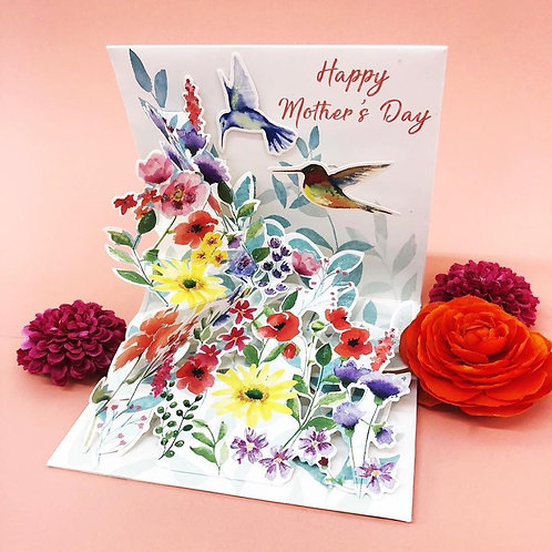 Mothers Day Pop Out Greeting Card/Hummingbird