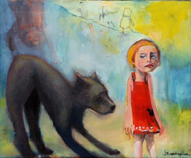 2008, Minja and the wolf 30x20cm, oil.jp