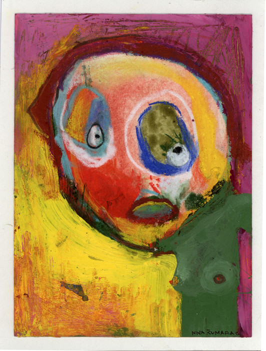 2006, young woman,10x15cm, mix media on