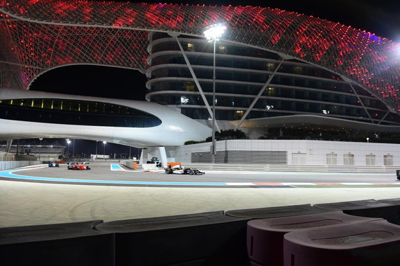 Young under the hotel at the Yas Marina F1 Circuit in Abu Dhabi Dec 2017