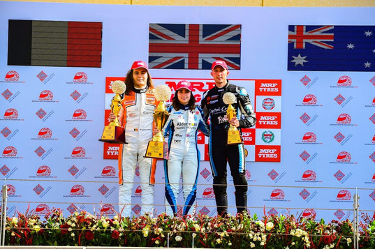 Another podium finish for Dylan in Bahrain alongside Jamie Chadwick (centre) and Max Defourny (left) Dec 2018