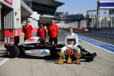 Dylan with his team after a strong weekend with 3 podiums and a win in Dubai Nov 2019