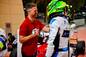 Dylan is congratulated by former F1 driver Ralf Schumacher before the podium in Bahrain Dec 2019