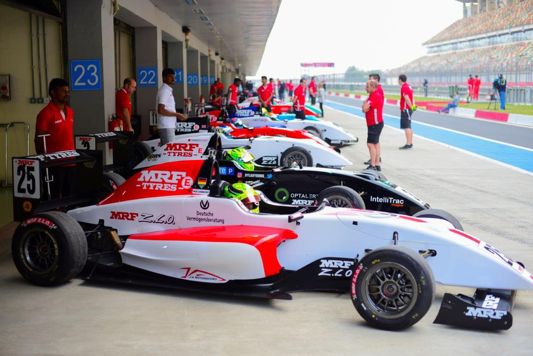 Dylan and Mick Schumacher preparing for action at the Budd F1 Circuit in Delhi, India Jan 2017