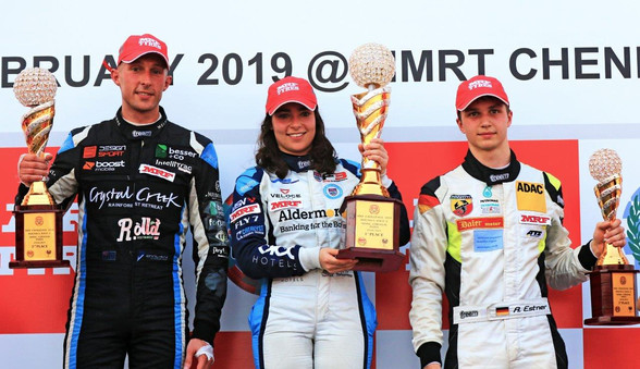 Dylan finishes in 2nd place alongside Jamie Chadwick (centre) and Andreas Estner in Chennai, India Feb 2019