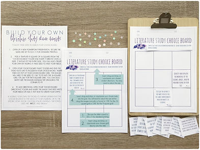 Book Study Choice Boards