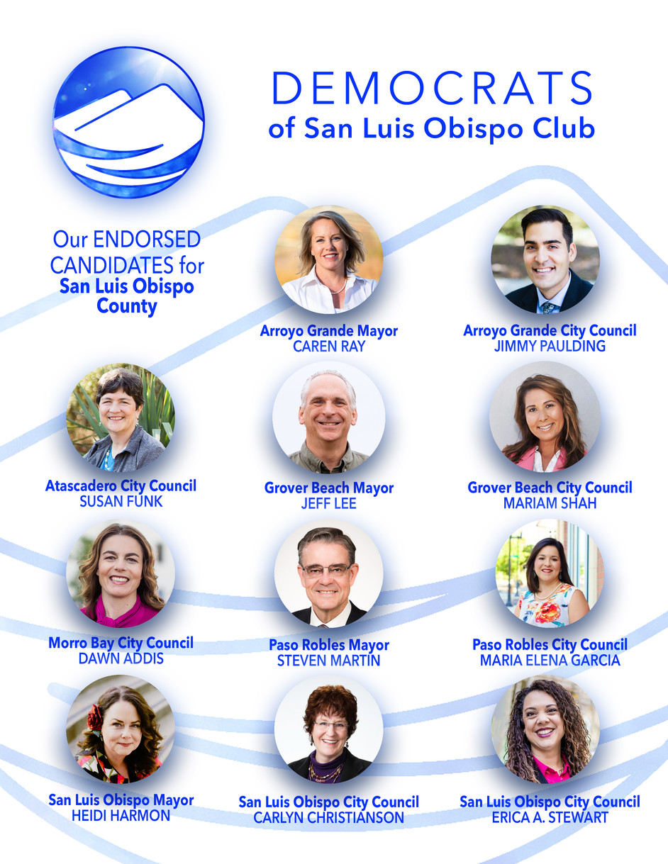 Democrats of San Luis Obispo 2018 Endorsed Candidates for SLO County