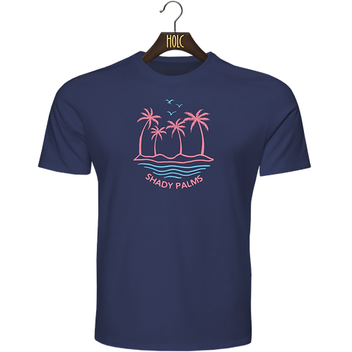 shady palms t shirt dark navy blue