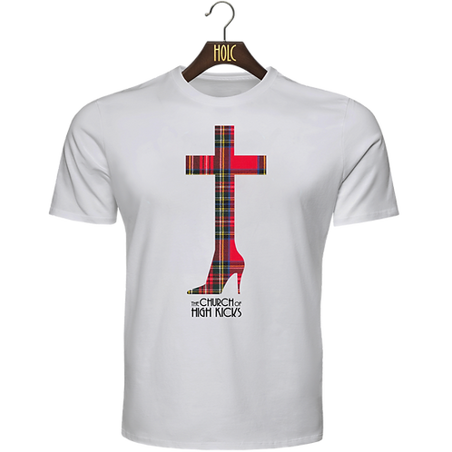 church of high kicks t shirt white tartan print