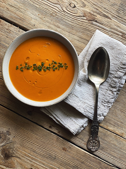 Carrot & Cumin Soup with a Turmeric & Coriander Loaf for Two