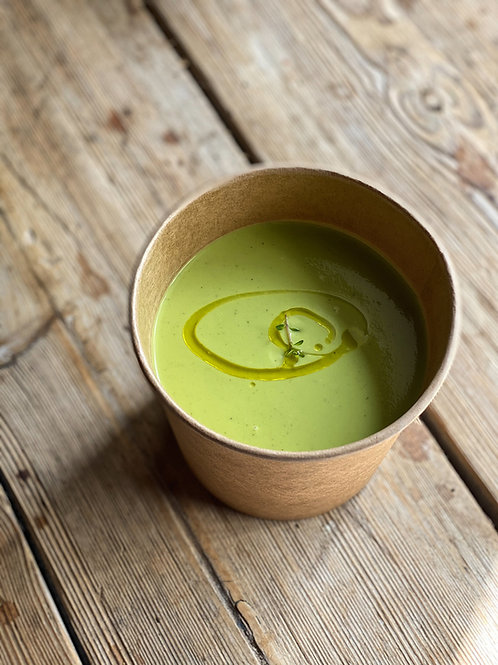 Chilled Pea & Mint Soup with a Sesame Seed Loaf for Two