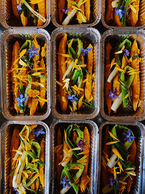 Glazed Confit Carrots, Herb Butter