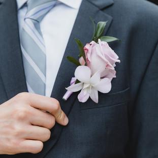 Lavender orchid boutoniere