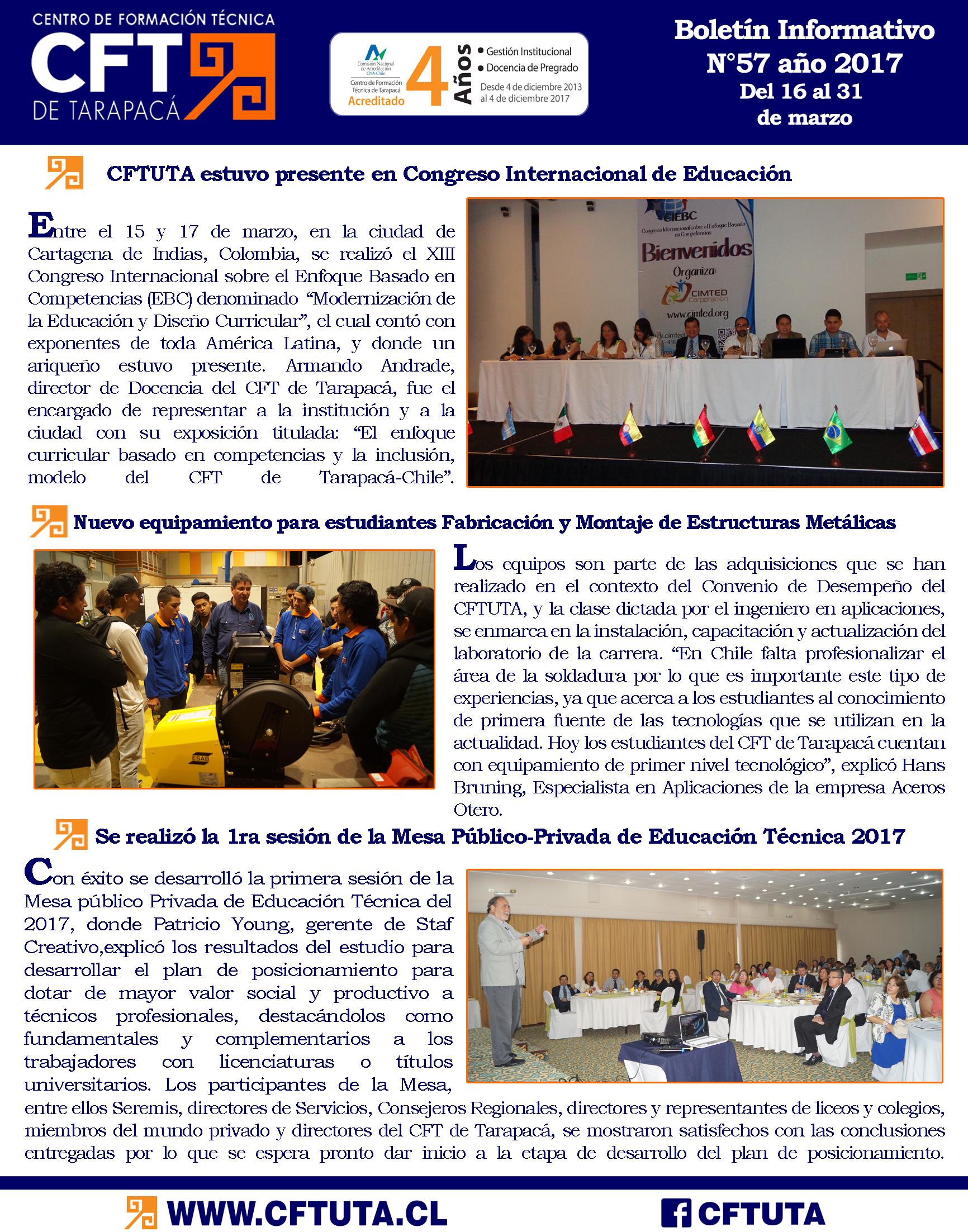 Boletín N°57 CFT de Tarapacá