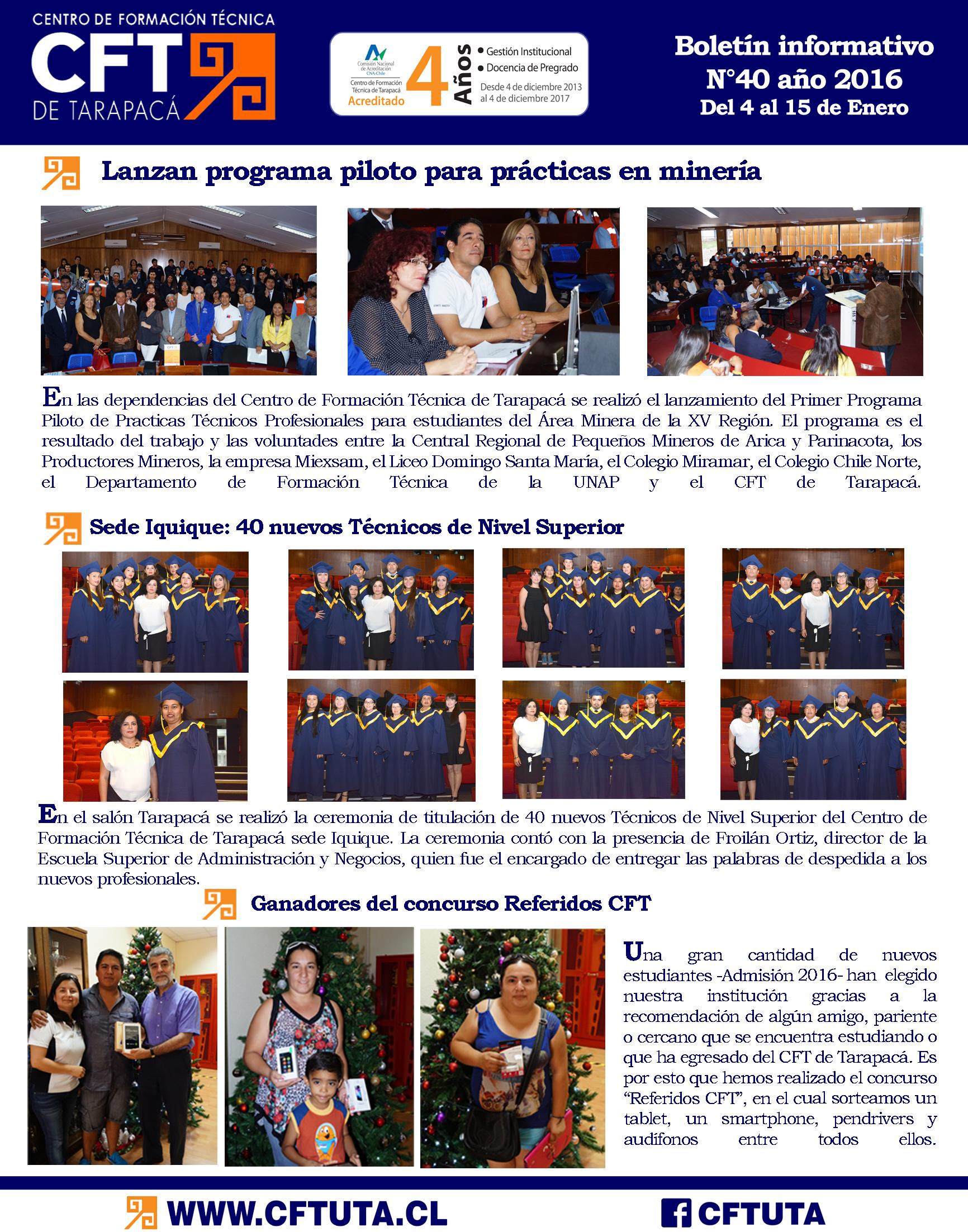 Boletín N°40 CFT de Tarapacá