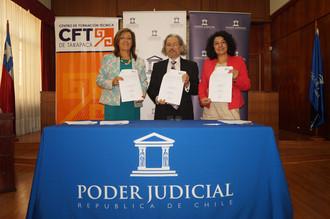 Corte de Apelaciones de Arica y CFT de Tarapacá suscriben convenio de cooperación