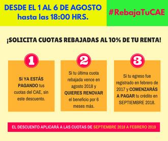 1 al 6 de agosto, rebaja las cuotas del crédito CAE