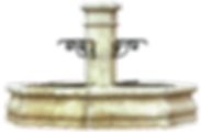 village fontaine centrale octogonale pierre naturelle sculpte traditionnel provence octogonal fountain central fountain natural stone carved
