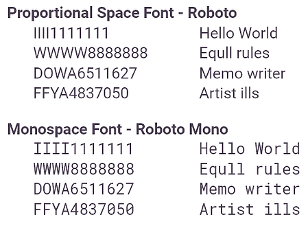 Fonts - Proportional and Monospace