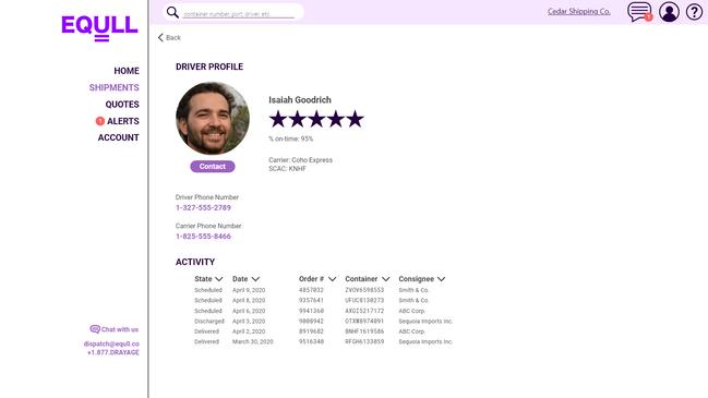 Equll Driver Detail Page