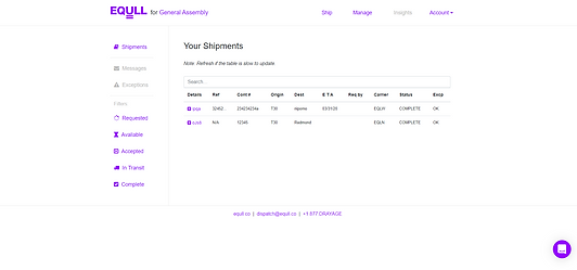 Current Equll Shipment Dashboard