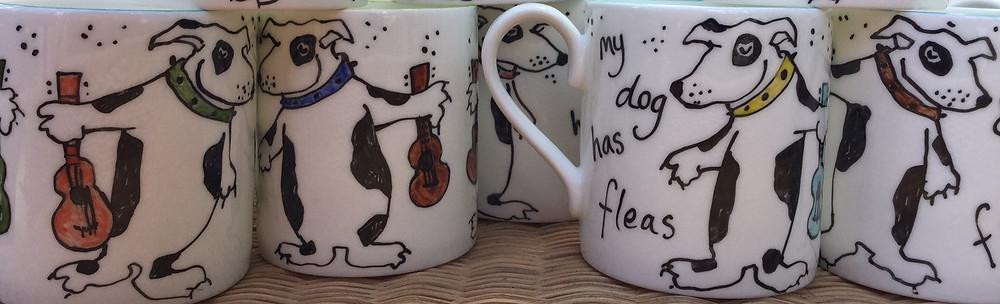 Ukulele hounds china mugs.