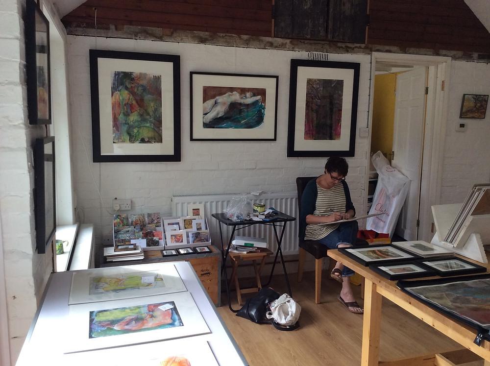 Astrig sketchin in a break at Cambridge Open Studios 2016