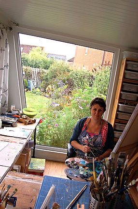 Astrig Akseralian at work in her art studio.