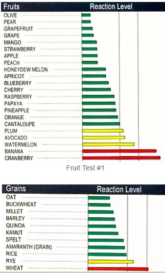 Food Sensitivity Test, Sample Report, Mediator Release Test (MRT)