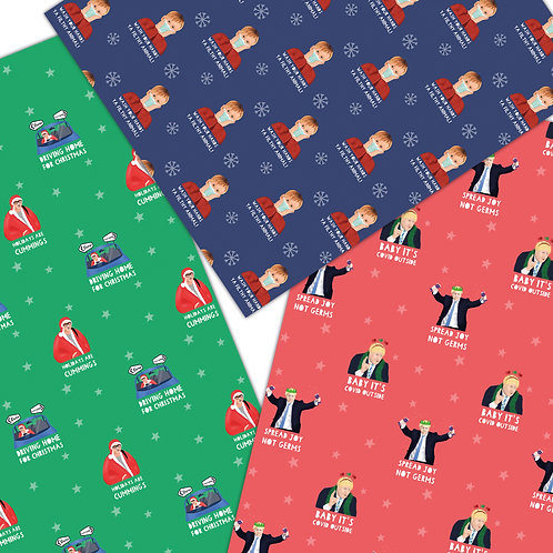 3 Pack COVID Celebrity/Politician Christmas Wrapping Sheets 70x50cm
