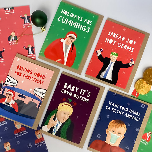 5 Pack- COVID Celebrity/politicians Christmas Cards
