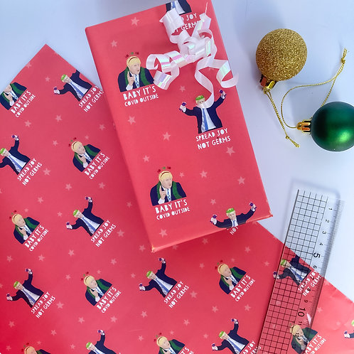 Boris Christmas Wrap Sheet 70x50cm Spread Joy not Germs, Baby It's COVID Outside