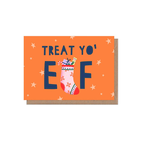 Treat Yo' 'Elf A6 Christmas Card