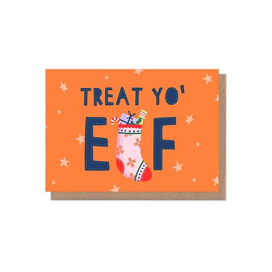 Treat Yo' 'Elf A6 Christmas Card
