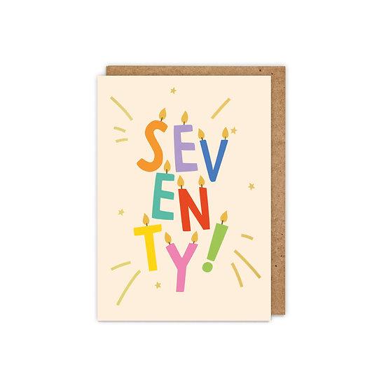 GOLD FOILED 'SEVENTY!' letter candles