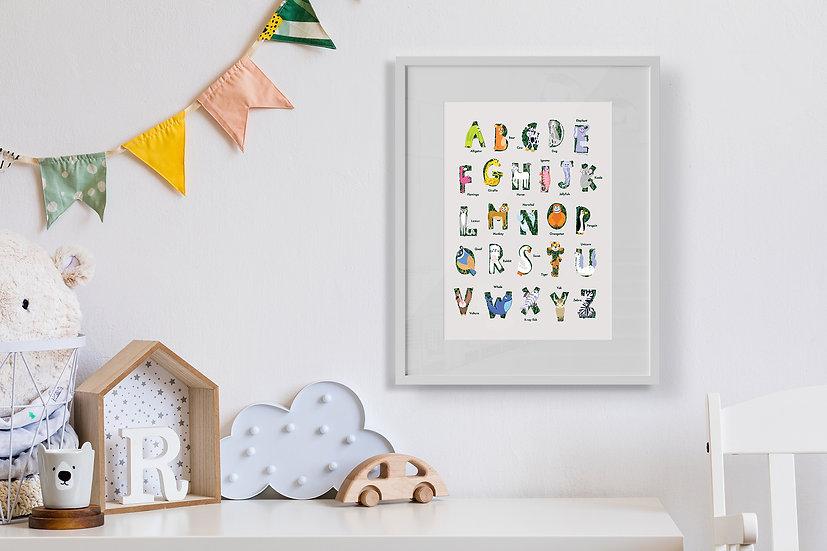 Animal Alphabet Children's Nursery Print A4/A3