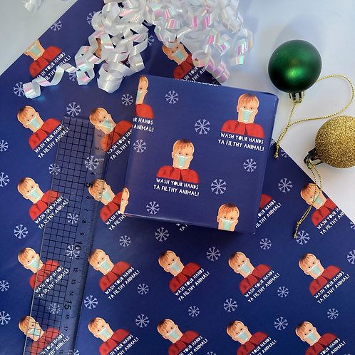 Wash Your Hands Ya Filthy Animal, Home Alone Christmas Gift Wrap Sheet 50x70cm