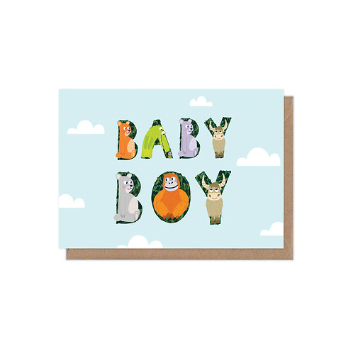 Animal Alphabet New Baby Boy Greetings Card