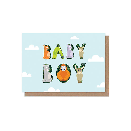 Animal Alphabet New Baby Boy Greetings Card