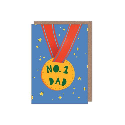 6 pack- No.1 Dad Medal Greetings Card