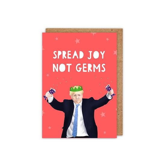 Spread Joy not Germs, A6 Boris Johnson Christmas Card