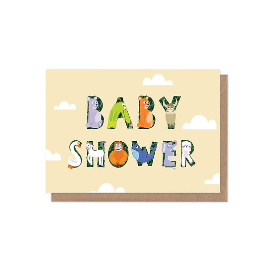 Animal Alphabet Neutral Baby Shower Greetings Card