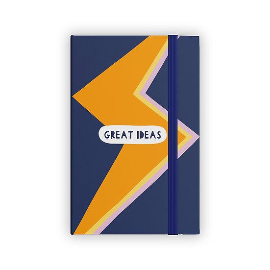 Navy Lightening Bolt 'Great Ideas' A5 Notebook