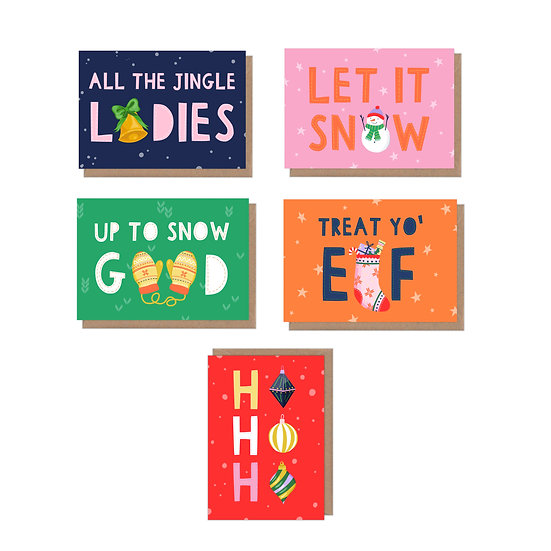 5 Pack Typographic Christmas Puns a6 greetings Cards