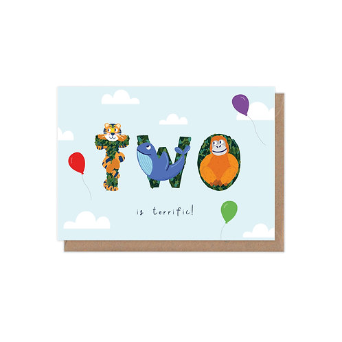 Two is Terrific 2nd Birthday Age Greetings Card