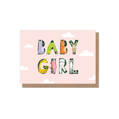 Animal Alphabet New Baby Girl Greetings Card
